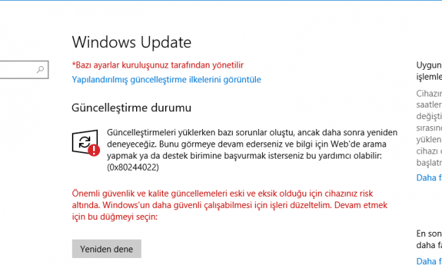 Wındows 10 update sorunu [ÇÖZÜLDÜ]